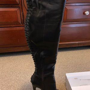 Knee high , wide calf Lacie back, inner zipper,